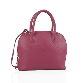 Close Out Deal 100% Genuine Leather Deep Fuschia Colour Fantasy RFID Blocker Large Tote Bag Bag (Size 29x24x11 Cm)
