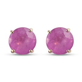 9K Yellow Gold Pink Sapphire Solitaire Stud Earrings (with Push Back) 2.250 Ct.