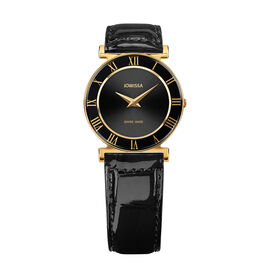Jowissa - Roma Swiss Watch in Stainless Steel with Laser Engraved Logo and Genuine Leather Black Strap