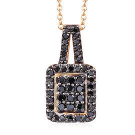 Black Diamond (Rnd) Pendant With Chain (Size 20) in 14K Gold Overlay Sterling Silver 0.330 Ct.