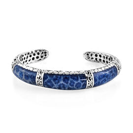Royal Bali Blue Sponge Coral Cuff Bangle in Sterling Silver 24.30 Grams 7.25 Inch