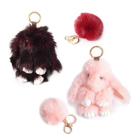 Set of 4 -  Faux Fur Bunny and Pom Pom Keychain/Bag Charm - Colour Wine and Pink
