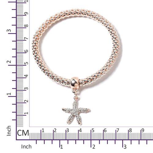 Set of 3 Multi Colour Austrian Crystal Tortoise, Starfish and Ladybug Charm Stretchable Bracelet (Size 7 - 7.5) in Rose Tone