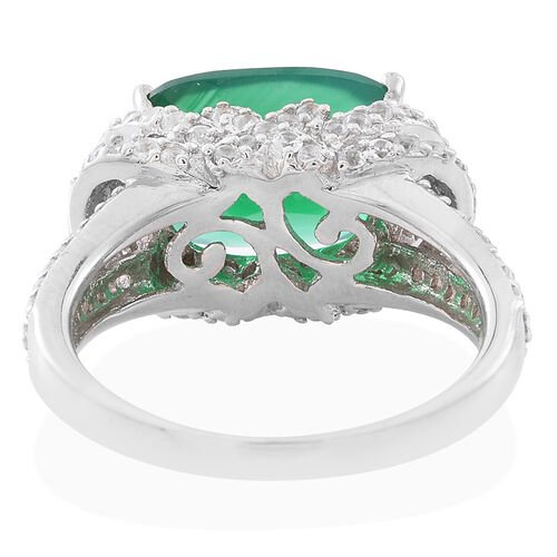 Verde Onyx (Cush 6.00 Ct), Natural White Cambodian Zircon Ring in Rhodium Plated Sterling Silver 8.750 Ct.