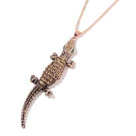 Simulated Emerald and Champagne Colour Austrian Crystal Crocodile Pendant With Chain in Rose Tone