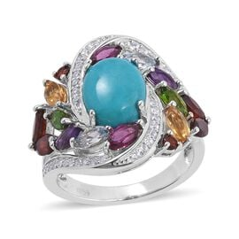 Turquoise (Ovl), Multi Gemstone Floral Marvelous Ring in Rhodium Overlay Sterling Silver 4.887 Ct, S