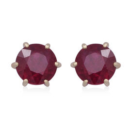 9K Yellow Gold AAA African Ruby (FF)  Earrings (with Push Back) 11.00  Ct
