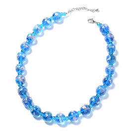 Blue Murano Style Glass (Rnd) Beads Necklace (Size 22) in Silver Tone