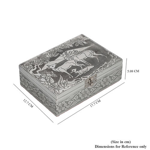 Set of 2 - Deer Embossed Jewellery Storage Boxes with Red Interior (17.7x12.7x5.08 Cm)