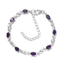 One Time Deal-Amethyst Bracelet (Size 6.5 With 2 inch Extender) in Sterling Silver 3.320 Ct.