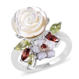 Jardin Collection - White Mother of Pearl, Hebei Peridot and Mozambique Garnet Ring in Rhodium Overl