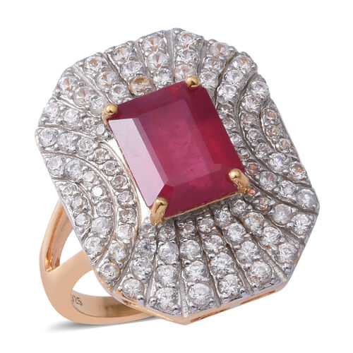 Cocktail Art Deco Collection- African Ruby ( Rare Size Oct 10x8 mm), Natural White Cambodian Zircon