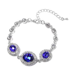 Simulated Blue Sapphire and White Crystal Bracelet in Silver Tone Plated 7.25 Inch