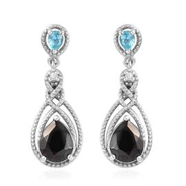 2 Carat Elite Shungite and Multi Gemstone Drop Earring in Platinum Plated Sterling Silver