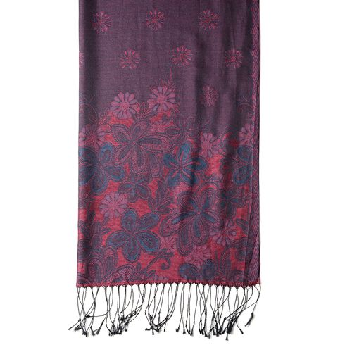 Purple, Turquiose and Multi Colour Scarf with Chrysanthemum Flower Pattern with Tassels (Size 180x70 Cm)