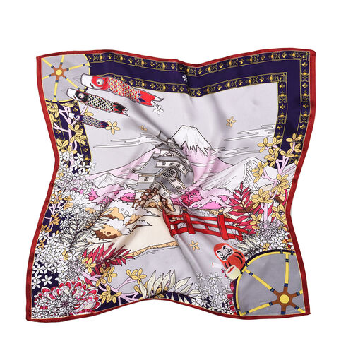 LA MAREY Pure 100% Mulberry Silk Scarf with Velvet Drawstring Pouch in Japanese Temple Print - White (Size 52x52cm)