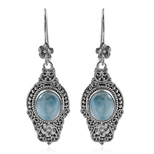 Royal Bali Collection 12 Carat Larimar Drop Solitaire Earrings with Hook in Sterling Silver
