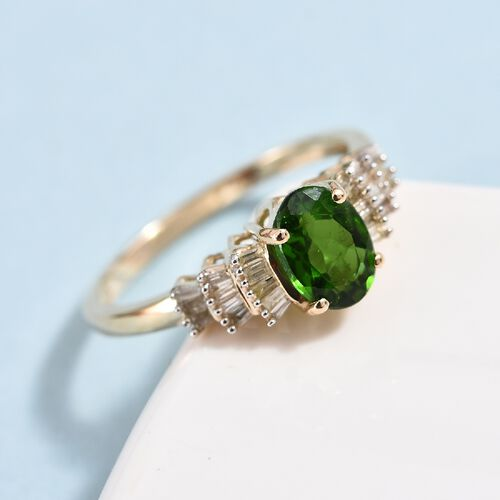 9K Yellow Gold Russian Diopside (Ovl 7x5 mm), Diamond Ballerina Ring 1.00 Ct.