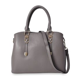 100% Genuine Leather Tote Bag with Detachable Shoulder Strap (Size 32x24x12 Cm) - Grey