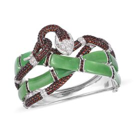 Green Jade, Mozambique Garnet, Tanzanite and Natural White Cambodian Zircon Bangle (Size 7.5) in Two