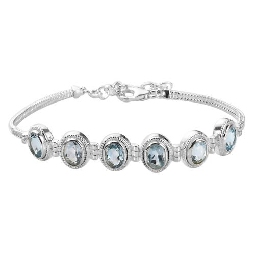 Sky Blue Topaz Bracelet (Size 7 with 1.5 inch Extender) in Sterling Silver 5.89 Ct, Silver wt 8.75 G