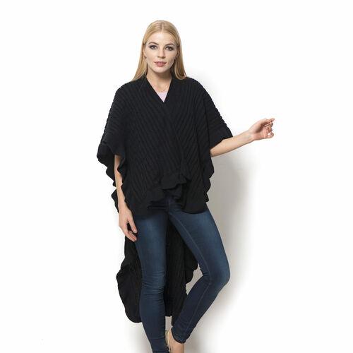 Designer Inspired Black Colour Ruana (Size 100x65 Cm)