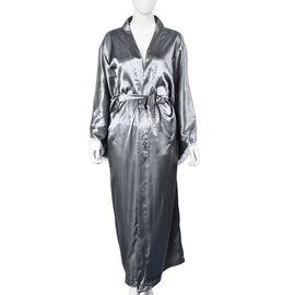 Solid Grey Colour Satin Feel Long Kimono (Size 65x130 Cm)