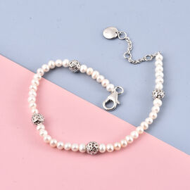 Rachel Galley Globe Pearl Collection - Freshwater Pearl Bracelet (Size -7.0 /7.5 /8.0) in Rhodium Overlay Sterling Silver