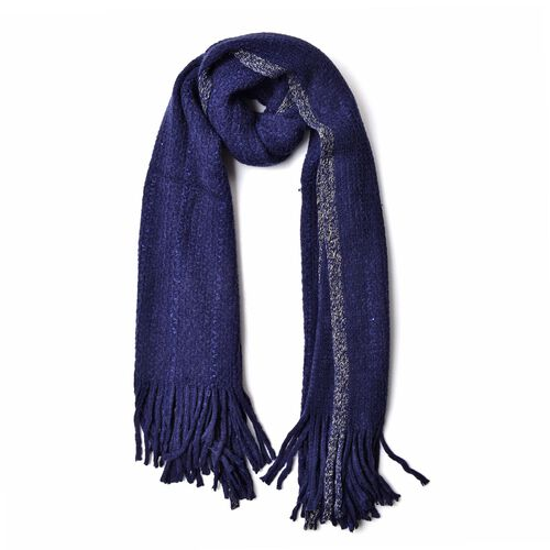 Blue Colour Scarf with Sequins and Tassels (Size 160x60 Cm)