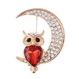 Black Crystal (0.00 Ct),Red Glass,White Crystal Brooch  0.003  Ct.
