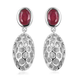 RACHEL GALLEY African Ruby (Ovl) Pebble Lattice Drop Earrings (with Push Back) in Rhodium Plated Sterling Silver 2.360 Ct. Silver wt 6.24 Gms.