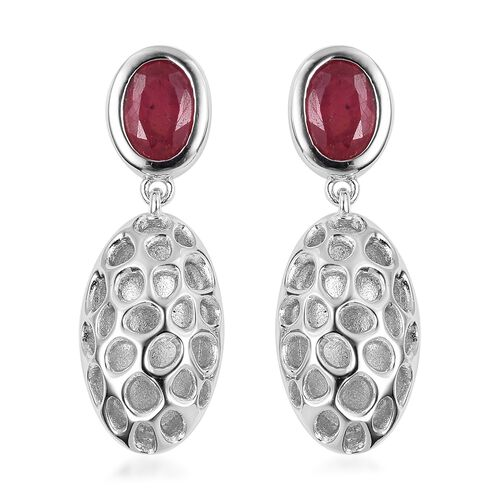 RACHEL GALLEY African Ruby (Ovl) Pebble Lattice Drop Earrings (with Push Back) in Rhodium Plated Ste