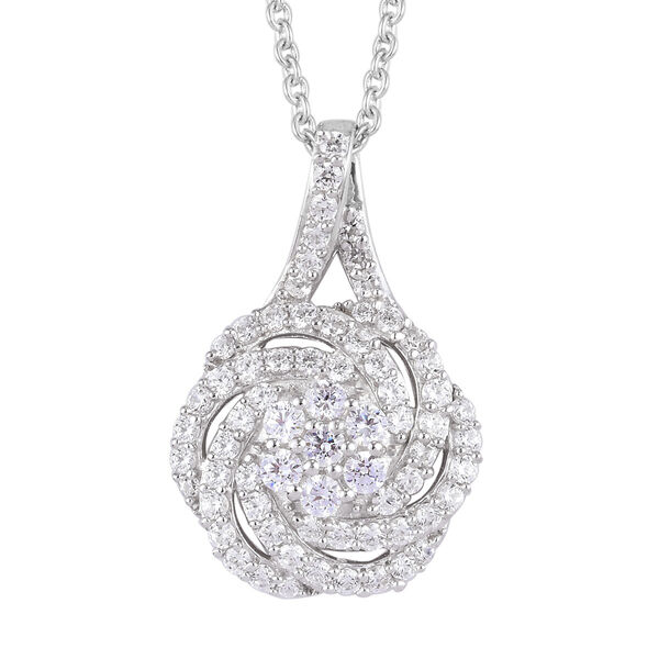 J Francis - Platinum Overlay Sterling Silver Pendant with Chain (Size 18) Made with SWAROVSKI ZIRCON