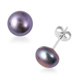 Peacock Pearl (9-10 mm) Solitaire Earrings in Rhodium Plated Sterling Silver with Push Back