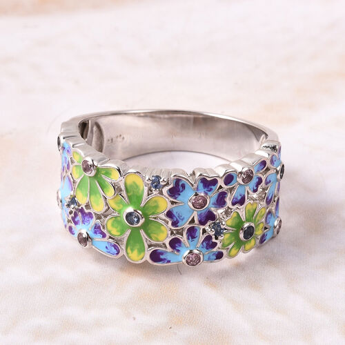Jardin Collection - Pink Sapphire, Madagascar Blue Sapphire Enamelled Floral Ring in Rhodium Overlay Sterling Silver, Silver wt. 6.60 Gms