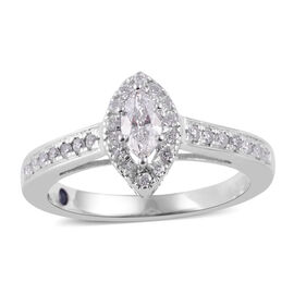 NY Close Out Deal- 14K White Gold Diamond (Mrq) (I2-I3 /G-H) Ring 0.502 Ct.