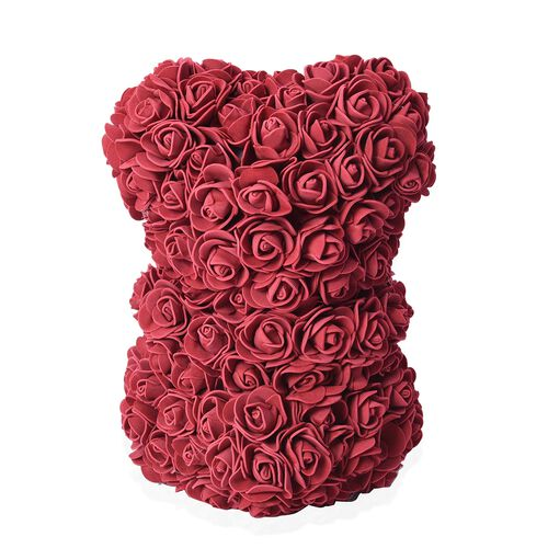 Lovely Rose Flower Bear with Bow Tie - Wine Red