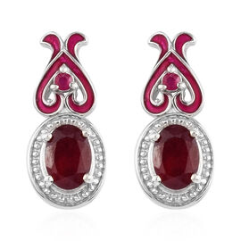GP 2.25 Ct African Ruby and Multi Gemstone Drop Halo Earrings in Platinum Plated Silver