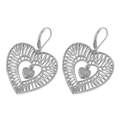 J Francis Platinum Overlay Sterling Silver Dangle Heart Earrings Made with SWAROVSKI ZIRCONIA