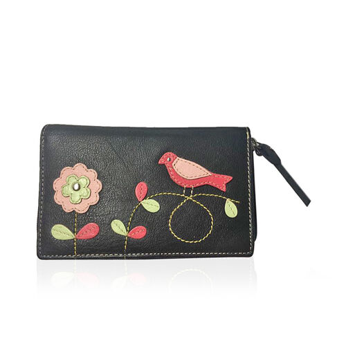 Genuine Leather RFID Blocker Black, Pink and Multi Colour Bird with Flower Pattern Wallet with Multiple Card Slots (Size 16X10X3 Cm)