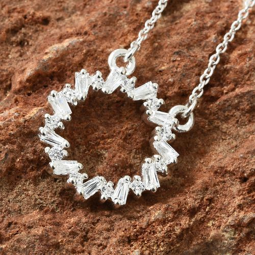 J Francis - Sterling Silver (Rnd and Bgt) Necklace (Size 18) Made with SWAROVSKI ZIRCONIA