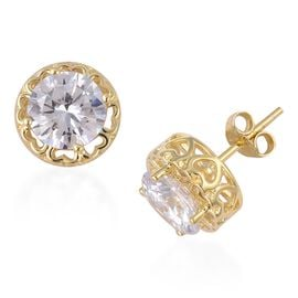 ELANZA Simulated Diamond (Rnd) Earrings (with Push Back) in Yellow Gold Overlay Sterling Silver