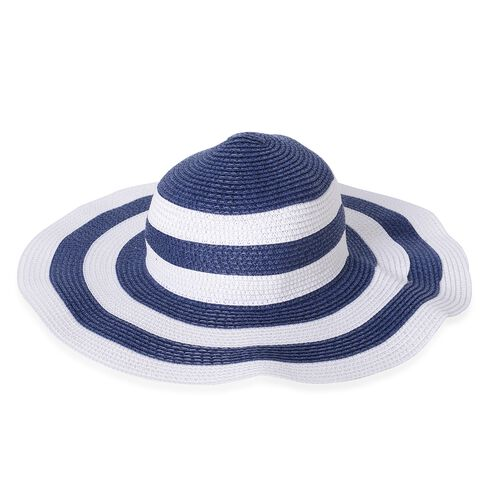 St. Tropez Collection- Blue and White Colour Stripe Pattern Tote Bag (Size 55x35x31x17 Cm) and Hat (Size 28x20 Cm)