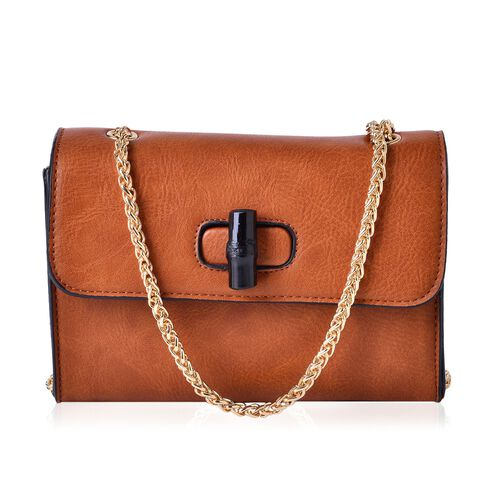 Tan Colour Crossbody Bag with Chain Strap (Size 20x14x8 Cm)