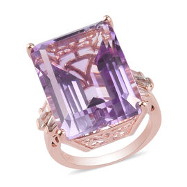 Rose De France Amethyst and Natural Cambodian Zircon Ring in Rose Gold Overlay Sterling Silver 23.33