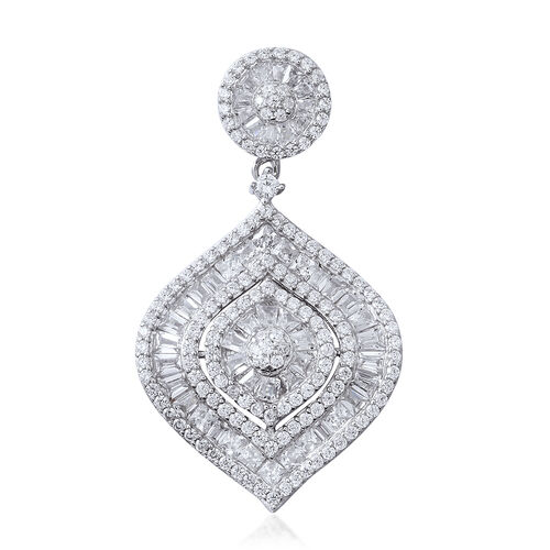 Designer Inspired-ELANZA Simulated Diamond (Rnd) Pendant in Rhodium Overlay Sterling Silver