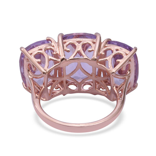 Rose De France Amethyst (Cush) Three Stone Ring in Rose Gold Overlay Sterling Silver 22.010 Ct, Silver wt 6.12 Gms.