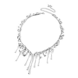 LucyQ Couture Drip Collection- Rhodium Overlay Sterling Silver Adjustable Filigree Necklace (Size 16