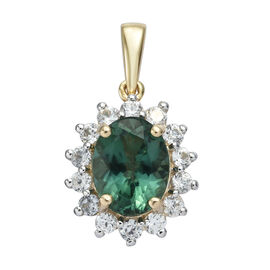 2.75 Ct Teal Apatite and Cambodian Zircon Halo Pendant in 9K Gold 1.37 Grams