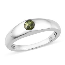 Russian Demantoid Garnet (Rnd) Solitaire Ring in Platinum Overlay Sterling Silver